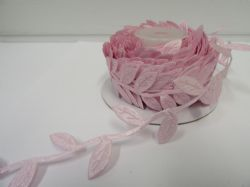 2 metres or 10 metre Full Roll 38mm BABY LIGHT PINK  Leaf Garland Ribbon double UK VAT Reg